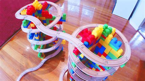 mega bloks kids double mountain spiral toy train track