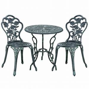 table 2 chairs cast iron antique dark green bistro set With französischer balkon mit garten bistro set
