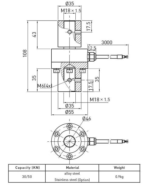high accuracy revere transducer load cell compression of alloy steel