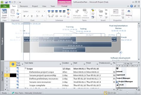 copy  email timeline  microsoft project