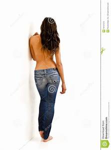 Back View Of Woman In Jeans Stock Photo