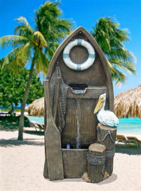 garden oasis wooden pelican fountain outdoor living