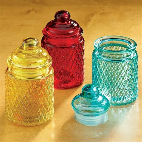 Kitchen Jars Ebay by Small Colored Glass Jars Set Of 3 Blue Gold Embossed