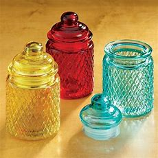 Set Of 3 Colorful Kitchen Spice Embossed Storage Jars