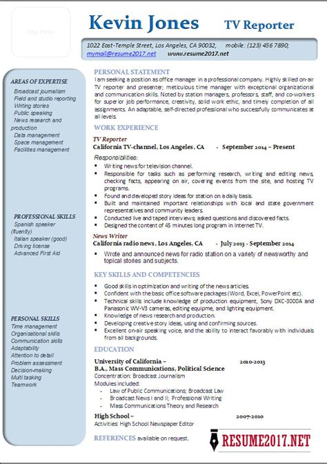 Reporter Resume by Reporter Resume Exles 2017 Templates