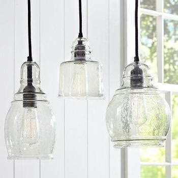 farmhouse kitchen pendant lights black fabric chords blown glass 8 light hanging pendant