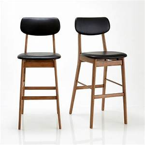 Tabouret De Bar Fixe : chaise de bar lot de 2 watford noyer noir la redoute ~ Dailycaller-alerts.com Idées de Décoration