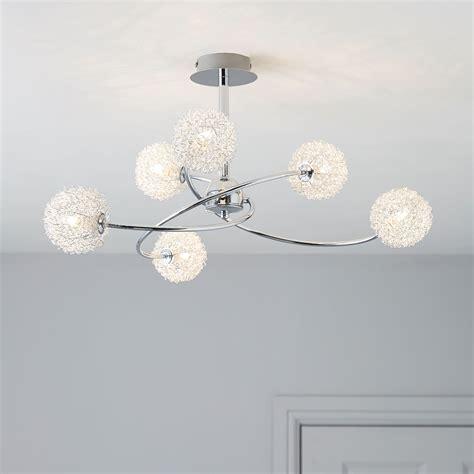 pallas chrome effect l ceiling light departments pallas chrome effect 6 l pendant ceiling light departments diy at b q