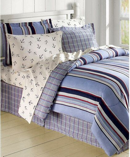 white blue sailboat nautical anchors comforter