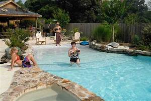 vistapro landscape design swimming pools family on With beach entry swimming pool designs