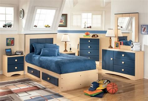 Cool Boys Bedroom With Cream And Blue Furniture