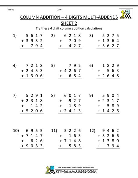 maths worksheets year 4 addition homeshealth info