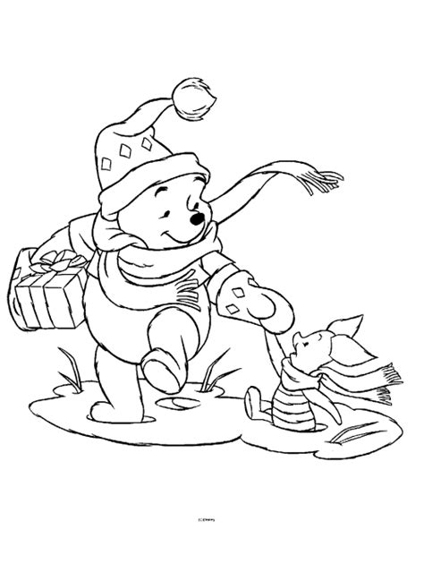 winnie  pooh christmas coloring pages cartoon