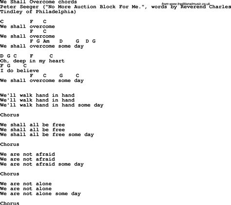 we shall overcome testo song lyrics with guitar chords for we shall overcome