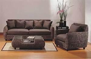 Canapé En Rotin : salon en rotin canap fauteuil et table basse linda ~ Teatrodelosmanantiales.com Idées de Décoration
