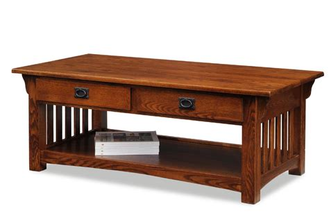 Leick 8204 Mission Coffee Table With Drawers And Shelf