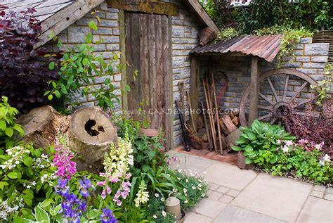 garden shed with beautiful flower garden
