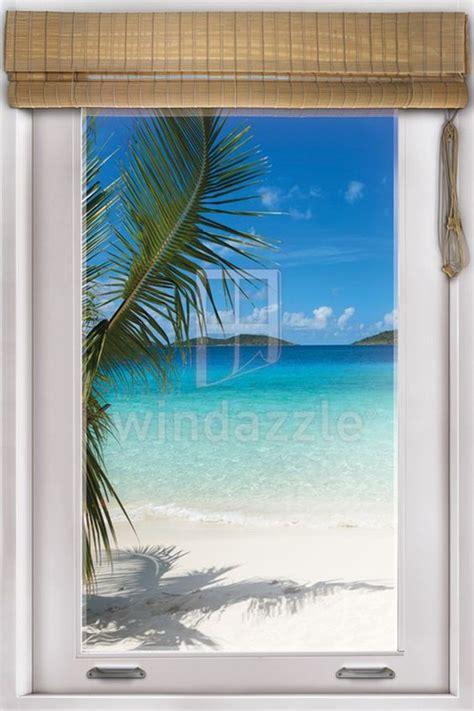 wall decal faux window tropical beach view beach