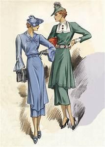 30s Fashion Two Dresses | 1930s Fashion Fashion Greeting Cards