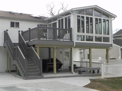 Elevated Sunroom Addition by Two Story Decks With Stairs Two Story Sunroom On