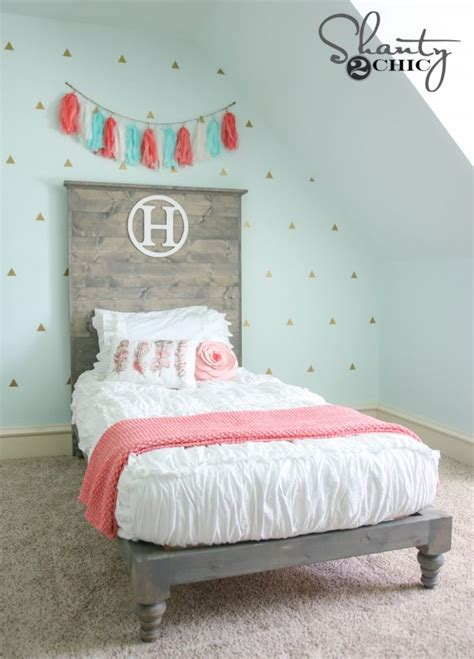 diy twin platform bed  headboard shanty  chic