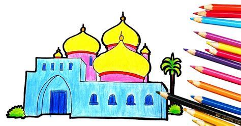 23 gambar mewarnai masjid dan pemandangan