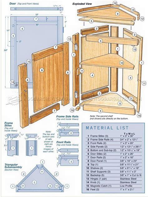 corner cabinet plans furniture plans woodworking plans
