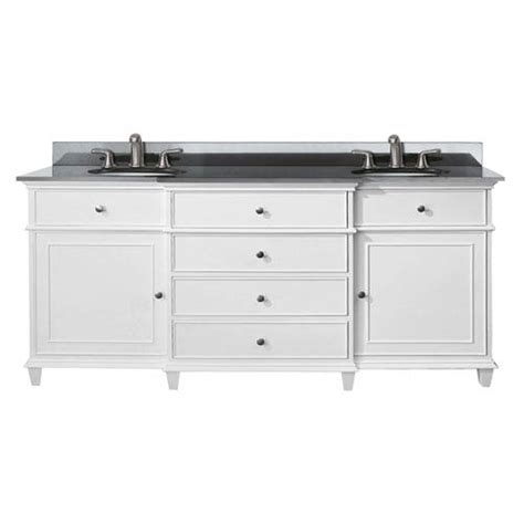 72 inch white vanity with black granite top and