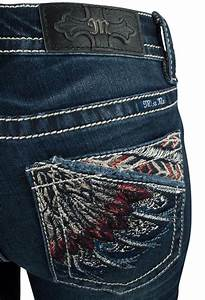 Miss Me Feather Embroidered Mid Rise Bootcut Jeans Pinto