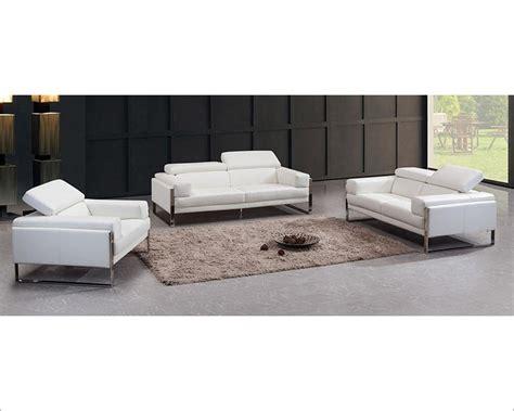 Contemporary White Leather Sofa Set 44l5977