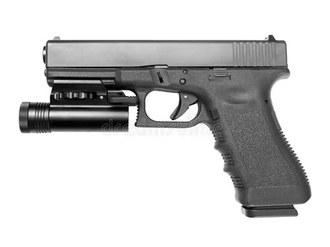 pistolet avec la le torche tactique photographie stock