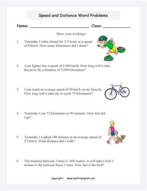 speed  distance word problems worksheets  primary math