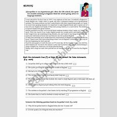 Excellent And Complete Reading Comprehension Test Esl