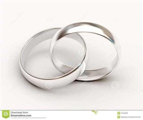 platinum wedding rings on white background royalty free