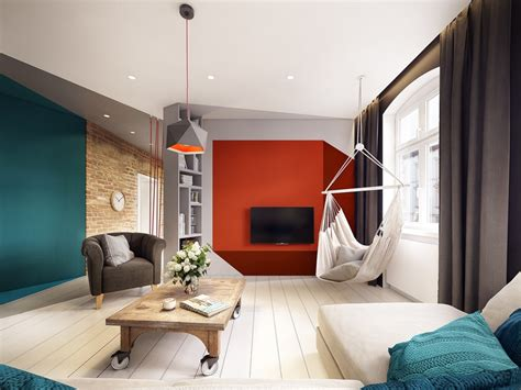 stunning apartment  colorful geometric design