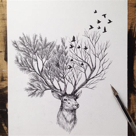 Pen Ink Depictions Trees Sprouting Into Animals