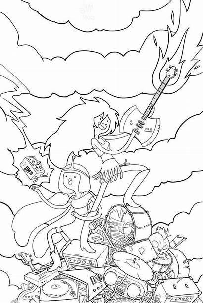 Adventure Marceline Coloring Pages Princess Bubblegum Princesses