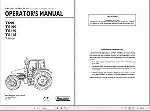 New Holland Ts90 Ts100 Ts110 Ts115 Tractor Operator U0026 39 S