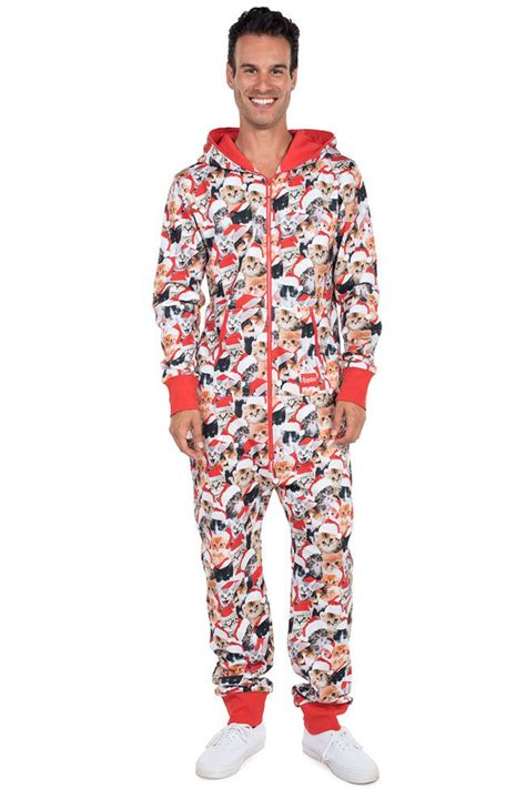 mens meowy catmus cat christmas onesie jumpsuit tipsy