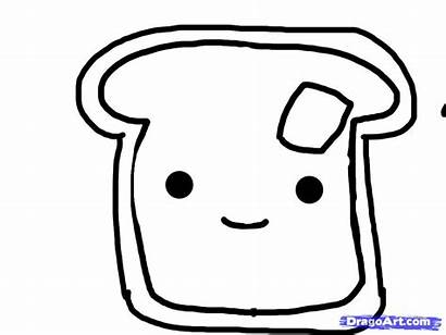 Toast French Draw Coloring Sheets Step Drawing
