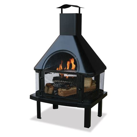 lowes outdoor fireplace shop black steel outdoor wood burning fireplace at lowes