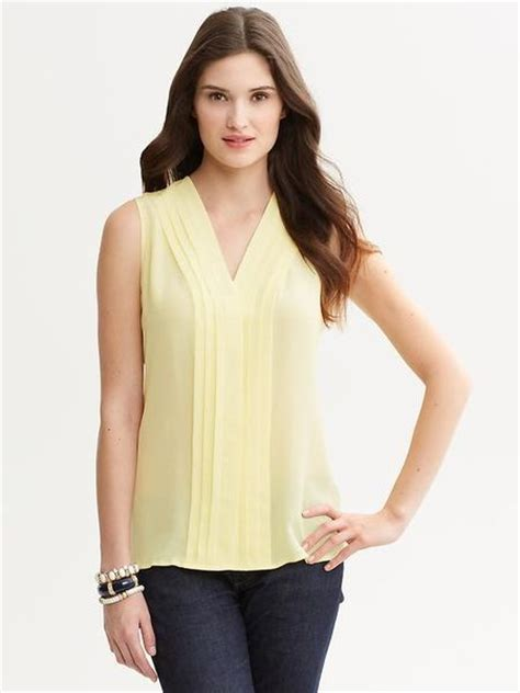 light yellow blouse banana republic yellow silk pleat front blouse in yellow