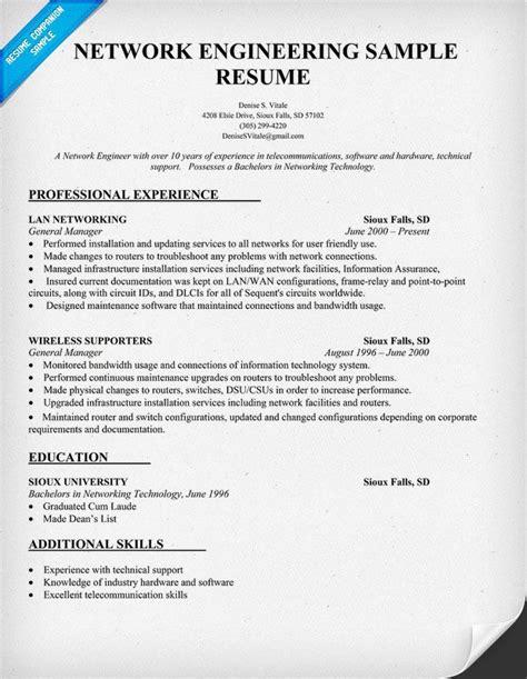 network engineering resume sample resumecompanioncom