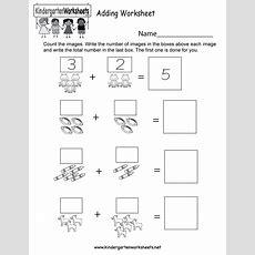 Adding Worksheet  Free Kindergarten Math Worksheet For Kids