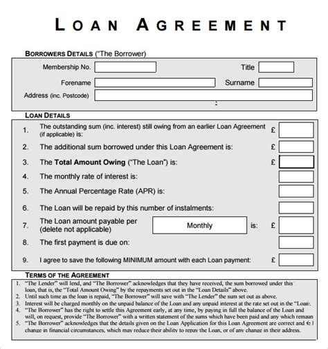 sample standard loan agreement templates sample