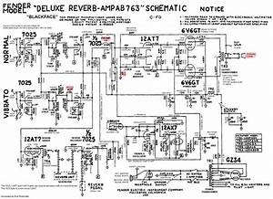 Fender Deluxe Reverb Ab763 Tube Guitar Amplifier Annotated Schematic By Robrobinette Com In 2019