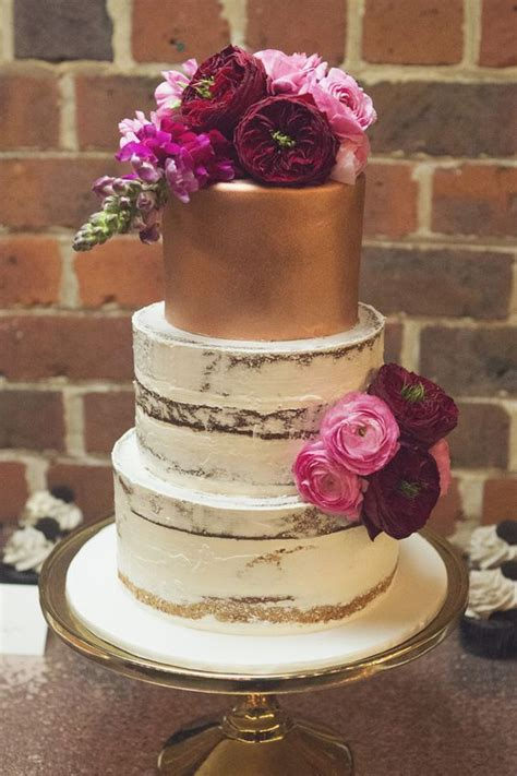gold semi naked wedding cake  pink  burgundy