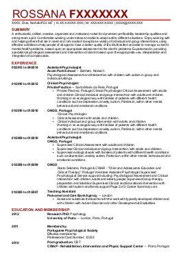 clinical psychology cv exles psychology cvs livecareer
