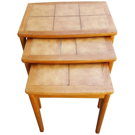 teak and tile modern nesting tables for sale at 1stdibs