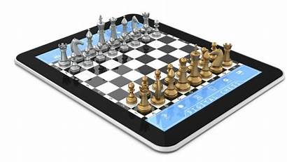 Computer Chess Tablet Play Pieces Against Board